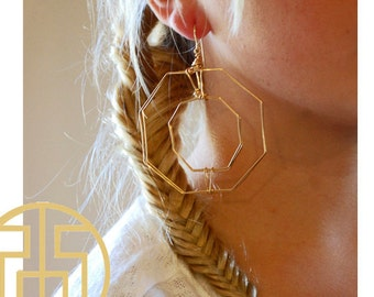 Gold Wire Octagon Earring, H13-35