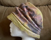 Hand made wet felted merino wool and silk mawata pleated cloche ladies hat, chartreuse, roses and greens