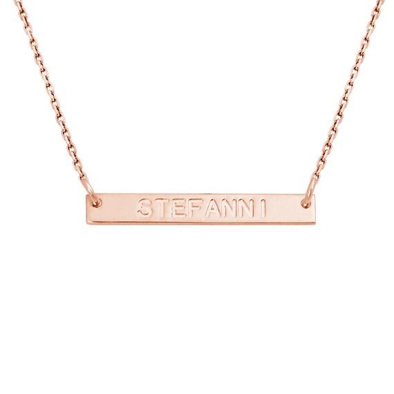 horizontal bar name necklace rose gold plated bar by ashyl. Black Bedroom Furniture Sets. Home Design Ideas