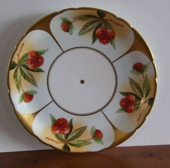 Hand Painted Jean Pouyat Limoges France, Porcelain Collectors Plate, Pretty cabinet Plate, French Artist Hanging Red Cherries, Gold Trim,