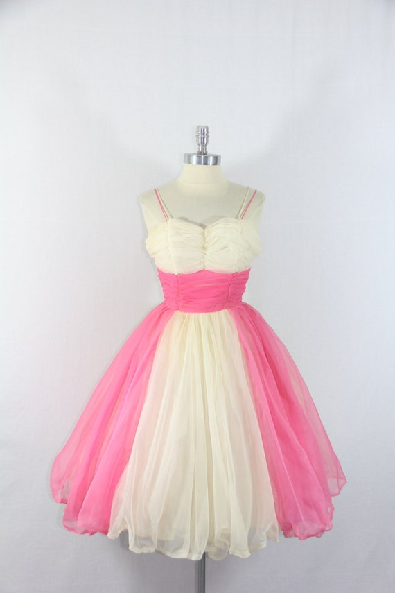 1950's Vintage Wedding Dress - Ivory and Pink Chiffon Full Skirt Short Party Prom Wedding Dress