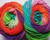 Noro Kureyon Wool Rainbow Orange Red Purple Lime Teal Yarn One Skein 319 Lot L