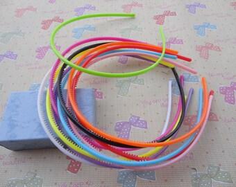50pcs 4mm assorted color  plastic headband with teeth