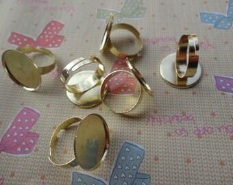 100pcs Adjustable Gold Ring Blanks 20mm
