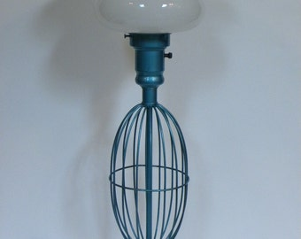 Vintage 1940s Industrial Large Lamp  -- Metallic Aqua Turquoise Metal with cage base and  Milk glass Globe -- Excellent working condition