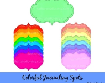 Instant Download - Colored Scrapbook Journaling Spot Frames Clip Art Set - Personal and Commercial Use DS143