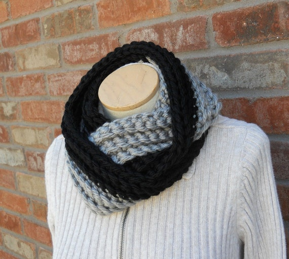 black and silver scarf black and gray scarf team colors womens