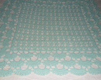 New(Ready to Ship) Crocheted Afghan - Coverlet - Throw - Blanket - Bedspread - Accessories - Large ''SHELLS GALORE''   in Pastel Mint Green