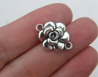 8 Rose connector charms antique silver tone F30