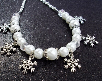 White pearls and Crystals with silver Snowflakes Necklace