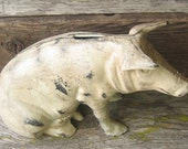 Vintage Cast Iron Rustic Chippy  Pig Piggy Bank Statue/ Home Decor/ Farm House/ Door Stop