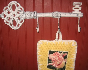 Large Wall Hook- Rustic White Cast Iron Metal  Key Hook/Hanger/ Jewelry Holder/Towel Holder/ Pot Holder