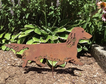 Long-Haired Dachshund Garden Stake or Wall Hanging / Metal Dog / Memorial