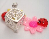 Silver Plated - Filigree Cube Lockets - Pearl cage - 5pcs super deal - SAVE - max 10mm pearl will fit in