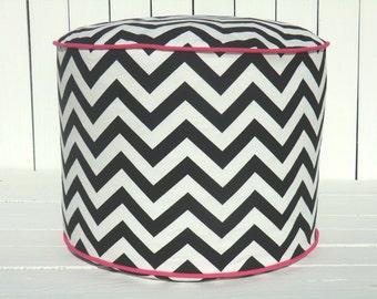 "Black chevron pouf ottoman, round ottoman 18"", black and pink floor pouf, chevron floor cushion, pouffe, zigzag floor pillow, bean bag chair"