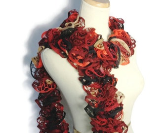 Knit Scarf, Hand Knit Scarf, Ruffle Scarf, Gift For Her, Women Accessories, Fashion Accessories, Red Scarf, Fiber Art, Christmas Gift,