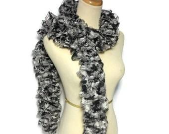 Ruffle Scarf, Black Scarf, Knit Scarf, Hand Knit Scarf, Fashion Scarf, Spring Scarf, Fiber Art, Womens Scarf,
