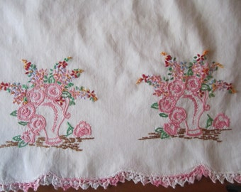 Pillowcase Pink edged & embroidered FLOWERS COTTON