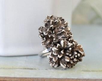 VINTAGE CAMELLIA vintage find sterling silver ring adjustable