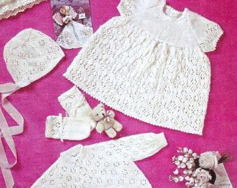 Vintage Knit PATTERN - Baby Layette, Dress, Coat, Bonnet, Bootees and Mitts