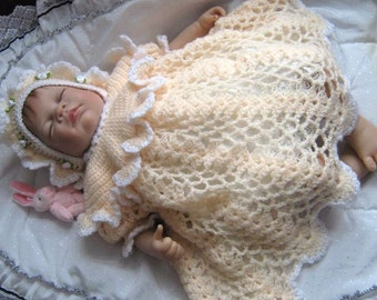 BABY CROCHET PATTERN - Heirloom/Keepsake/Christening  Peach Princess Crochet Dress, Bonnet and Booties//Bootees