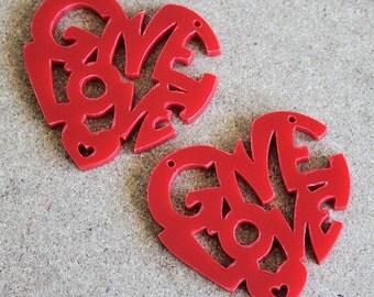 2 x Laser cut acrylic Give Love pendants