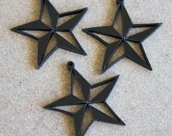 3 x Laser cut acrylic Nautical Star charms