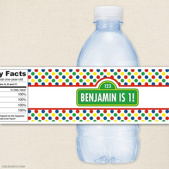Sesame Street Party - 100% waterproof personalized water bottle labels