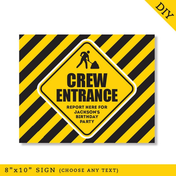 Construction Party - Personalized DIY printable sign by ...