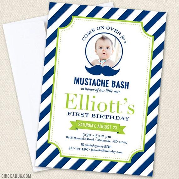 Mustache Bash Party Photo Invitations
