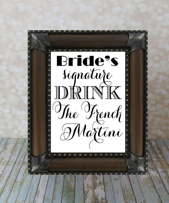Brides signature Drink & Groom signature Drink. 2 (two) are included, Wedding Bar Reception DIY Digital Custom drinks, Featured cocktails