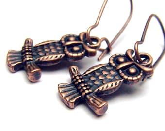 Copper Owl Earrings Owl Jewelry Cute Little Owls Girls Jewelry