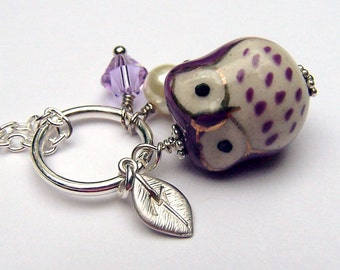 Personalized Owl Necklace Purple Girls Owl Jewelry