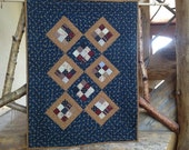 Patriotic Nine Patch in a Square Wall Hanging or Table Topper