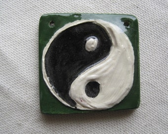 Yin Yang pendant component carved ceramic dark green 2 holes.