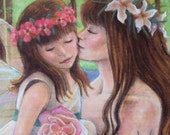 Mother Daughter Fairy Art Print - Flower Wreaths and Lavender