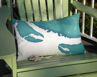 """Outdoor pillow ATTACK of the CRAB MONSTERS lumbar 12""""x20"""" B movie horror Roger Corman Crabby Chris Original copyrighted design"""