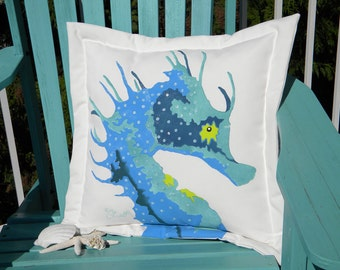 "Spiny seahorse cool colors outdoor indoor pillow 20"" (50cm) coastal undersea knobby handpainted Crabby Chris Original shelling beachcombing"