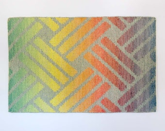 Vintage Wool  Area Rug / Pastel Rainbow Wall Hanging
