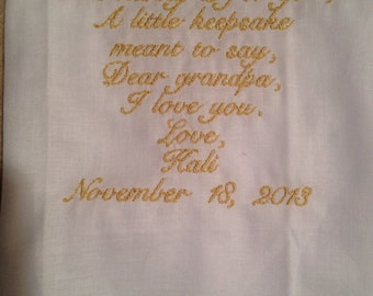 Grandfather personalized  Wedding Handkerchief Custom Embroidered
