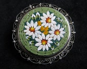 Vintage Italian Floral Mosaic Brooch Collectible Costume Jewelry