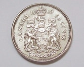 1960s Canadian Silver Half Dollar 50 Cent