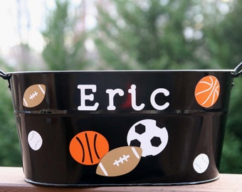 Personalized Toy, Birthday, or Easter or toy pail for boys or girls - Sport balls