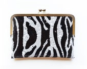 Sequin Animal Print Zebra Envelope Kisslock Bridesmaid Gift Custom Silk Wedding Clutches Purse Personalized Bags