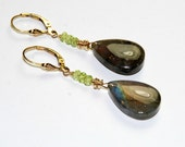 Labradorite and Peridot Earrings - Blue Gray Gemstone Earrings - Gold Earrings - Lever Back