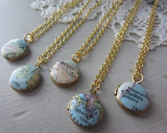 Five Custom Vintage Map Mini Locket-Discounted for Bridesmaid gifts or bulk purchases