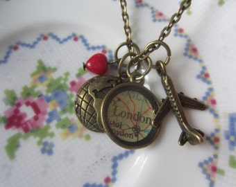 Long Distance Love World Globe Custom Vintage Maps Necklace