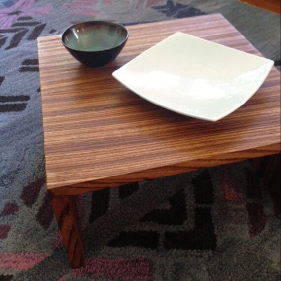Modern Hardwood Coffee Table Zebra Wood Mid Century Handmade Home