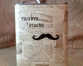 Mustache Flask, Funny Private 'Stache, one of a kind, hand crafted,Christmas, American Artist