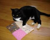 Catnip toy quilted mat blanket, patchwork cat playtime nap time, organic catnip, cat bedding, catnip toy
